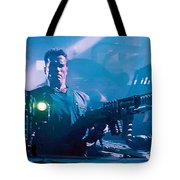 Arnold Schwarzenegger Firing Dual Em-1 Railguns Eraser 1996 Tote Bag
