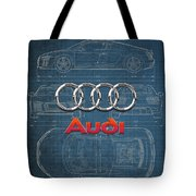 Audi 3 D Badge Over 2016 Audi R 8 Blueprint Tote Bag by Serge Averbukh