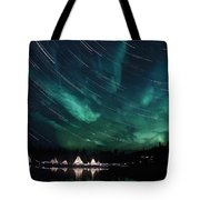 Aurora And Star Trails Tote Bag