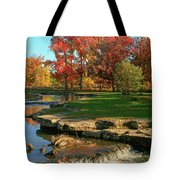 Autumn At The Deer Lake Creek Riffles In Forest Park St Louis Missouri Tote Bag