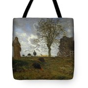 Autumn Landscape With A Flock Of Turkeys Tote Bag