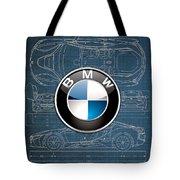 B M W 3 D Badge Over B M W I8 Blueprint  Tote Bag
