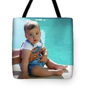 Baby Boy Sitting By The Pool Tote Bag
