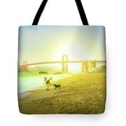 Baker Beach Dog Playing Tote Bag