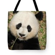 Bamboo Sticking Out Of The Mouth Of A Giant Panda Bear Tote Bag
