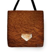 Baseball Homeplate In Brown Dirt For Sports American Past Time Tote Bag