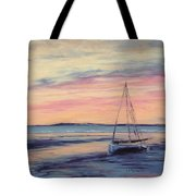 Beached At Sunset Tote Bag