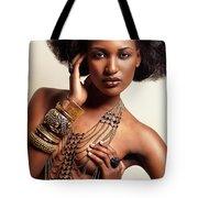 Beautiful African American Woman Wearing Jewelry Tote Bag