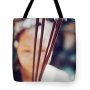 Beautiful Asian Woman Holding Incense Sticks During Hindu Ceremony In Bali, Indonesia Tote Bag
