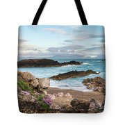 Beautiful Landscape Image Of Rocky Beach With Snowdonia Mountain Tote Bag
