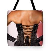 Beautiful Woman In Black Corset Tote Bag