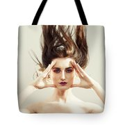 Beautiful Woman With Windswept Hair Tote Bag