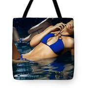 Beautiful Young Woman In Blue Bikini Tote Bag