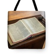 Bible And Gavel Tote Bag