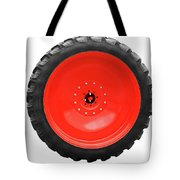 Big Tractor Tire Isolated On White Tote Bag