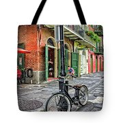 Bike And Lamppost In Pirate's Alley Tote Bag