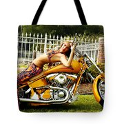 Bikes And Babes Tote Bag by Clayton Bruster