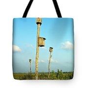 Birdhouses In Salt Marsh. Tote Bag