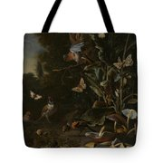 Birds Butterflies And A Frog Among Plants And Fungi Tote Bag