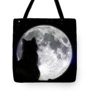 Black Cat And Full Moon Tote Bag