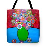 Blooms 3 Tote Bag by Pristine Cartera Turkus