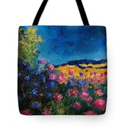 Blue And Pink Flowers Tote Bag