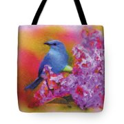 Blue Bird In The Lilac's Tote Bag