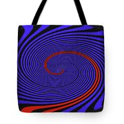 Blue Black And Red Twirl Abstract Tote Bag