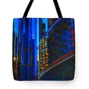 Blue Cityscape Tote Bag