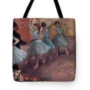 Blue Dancers Tote Bag by Edgar Degas