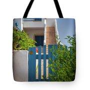 Blue Gate In Greece Tote Bag