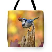 Blue Jay With Acorn Tote Bag