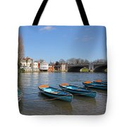 Blue Rowing Boats On The Thames At Hampton Court London Tote Bag
