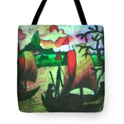 Boat View In Sunset Tote Bag