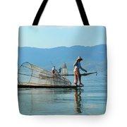 Boatmen On Inle Lake  Tote Bag