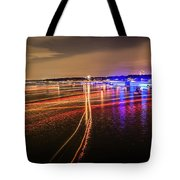 Boats Light Trails On Lake Wylie After 4th Of July Fireworks Tote Bag
