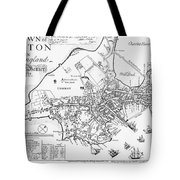 Boston Map, 1722 Tote Bag