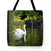 Boston Public Garden Swan Green Reflection Tote Bag