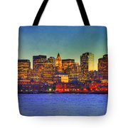Boston Skyline Sunset Tote Bag by Joann Vitali