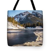 Bow River With Mountain View Banf National Park Tote Bag