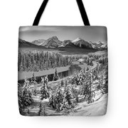 Bow Valley River View Black And White Tote Bag