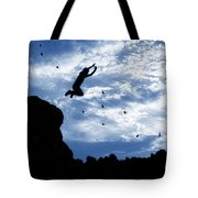 Boy Jumping With Birds Tote Bag