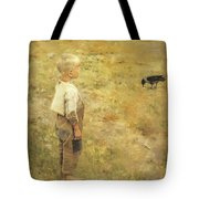 Boy With A Crow Tote Bag