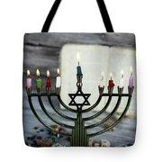 Brightly Glowing Hanukkah Menorah - Shallow Depth Of Field Tote Bag