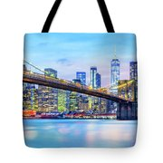 Brooklyn Bridge And The Lower Manhattan Skyline Tote Bag by Mihai Andritoiu