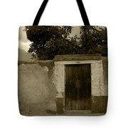 Brown Door In A White And Green Wall Tote Bag