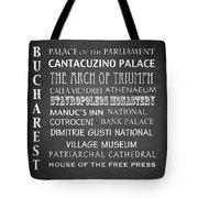 Bucharest Famous Landmarks Tote Bag