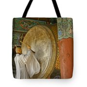 Buddhist Monk Drumming Tote Bag