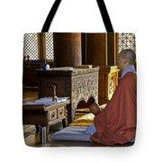 Buddhist Monk In Prayer Tote Bag