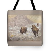Buffalo Under The Alpenglow Tote Bag